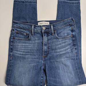Denim Forum Jeans Nico Mid Rise Skinny Crop Blue 27